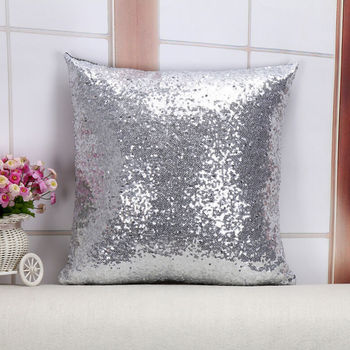 2018 Brand New Silver Bling Shiny Glittering Scaly Sequins Pillow Case Throw Pillowcase Pillowcover High Quality image