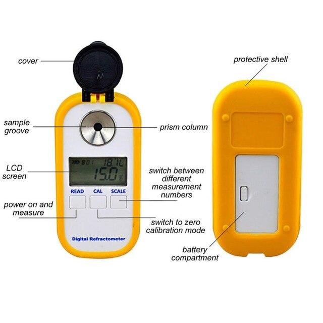 Original Booyah DR102 numérique Brix réfractomètre en caoutchouc Latex Agent de démoulage Instrument de Test 0-90% alimentaire boisson douceur mètre