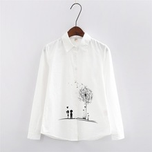 New Style Lady White Shirts Formal Work Blouse Size S-3XL Korean Women Printed Shirts Chiffon Blouse Slim Fit Lady Shirt