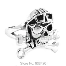 Free shipping! Gothic One-Eyed Pirate Ring Stainless Steel Jewelry Spanner Pilots Skull Motor Biker Men Ring SWR0342B