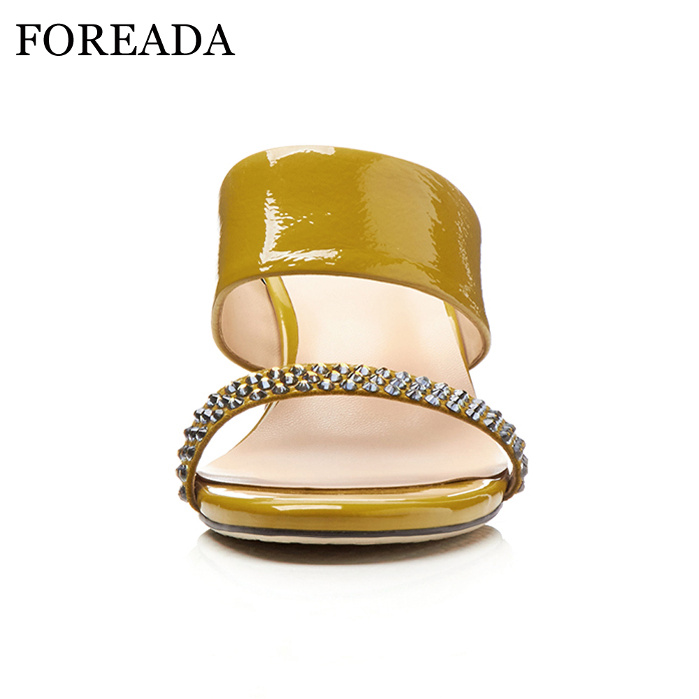 FOREADA Genuine Leather Women Sandals 2018 Strange High Heels Ladies Party Shoes Crystal Open Toe Female Summer Slippers Size 42