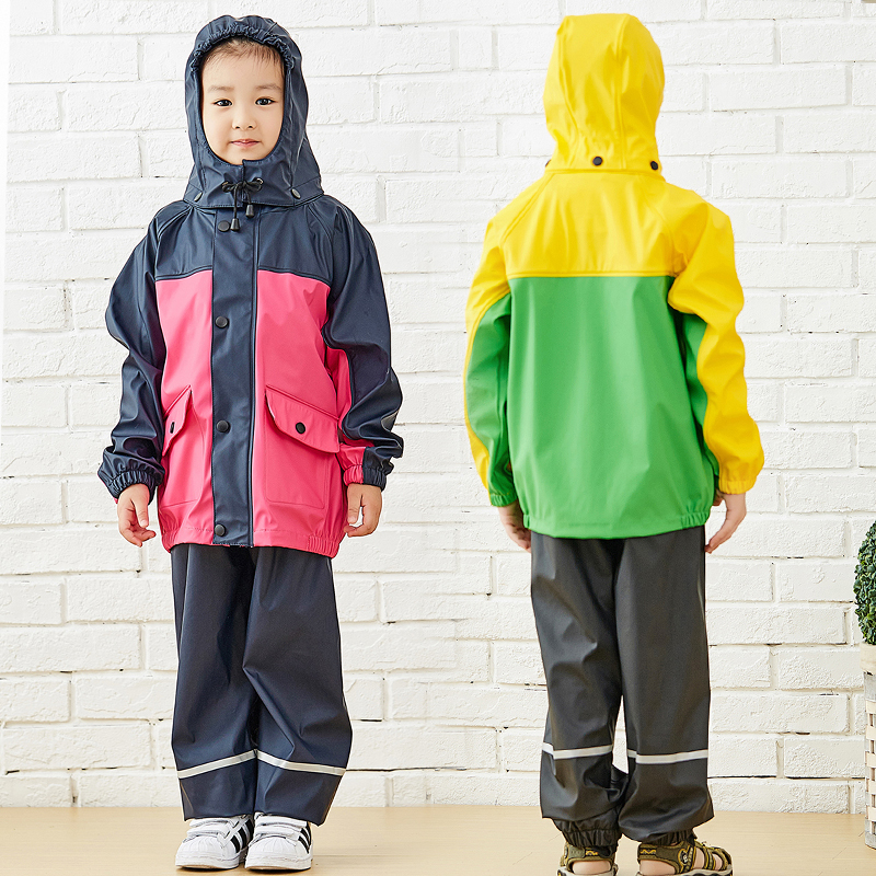 QIAN 3-10 Years Old Quality Children Raincoat Unisex Waterproof Kids Boys Girls Jumpsuit Hooded Rain Coat School Rain Gear Suit