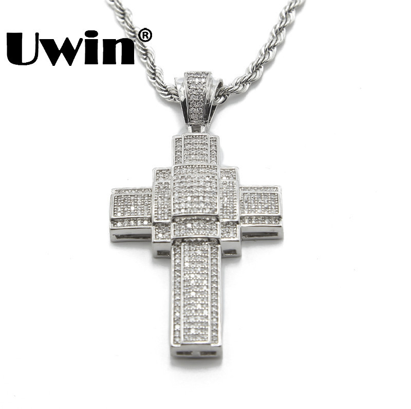 Men Hip Hop Full Iced Out Silver Thick Large Cross Pendant Charm Chain Hiphop Rap Bling
