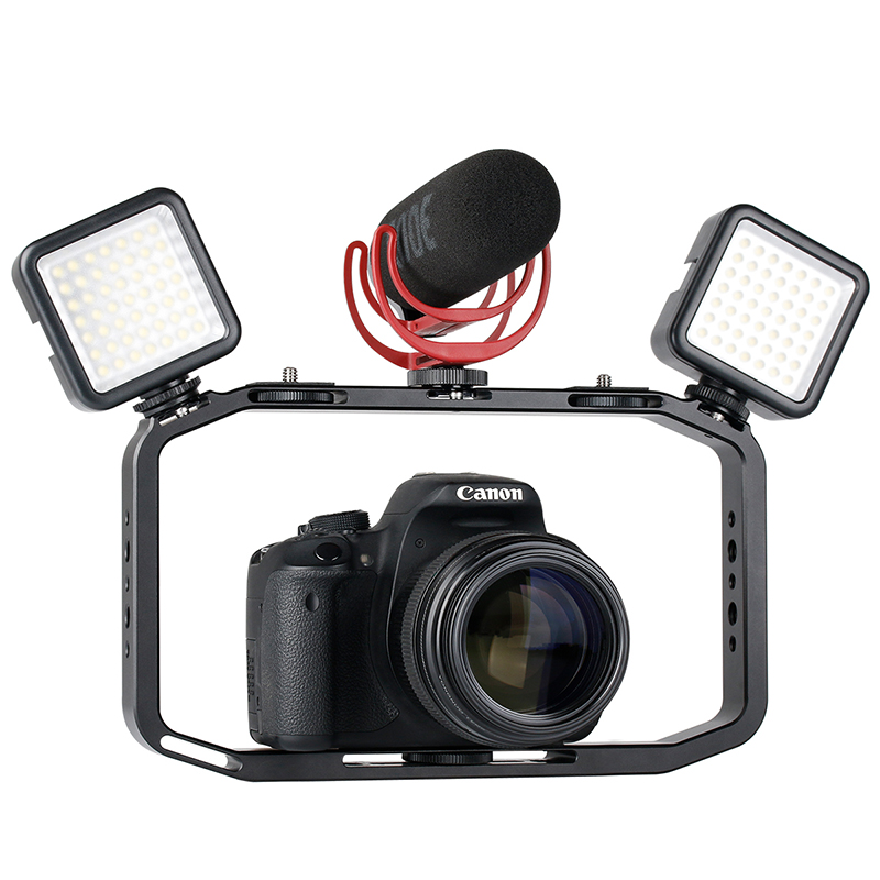 Handheld Video Rig For DSLR Camera Phone Gopro Vertical Shooting Phone Rig For Canon Nikon IPhone Xs Max X 8 7 Gopro 5 6 7 Yi