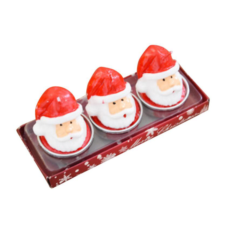 3Pcs Christmas Candles with Santa House Snowman Xmas Party Candle Light Gift Festival Home Decoration