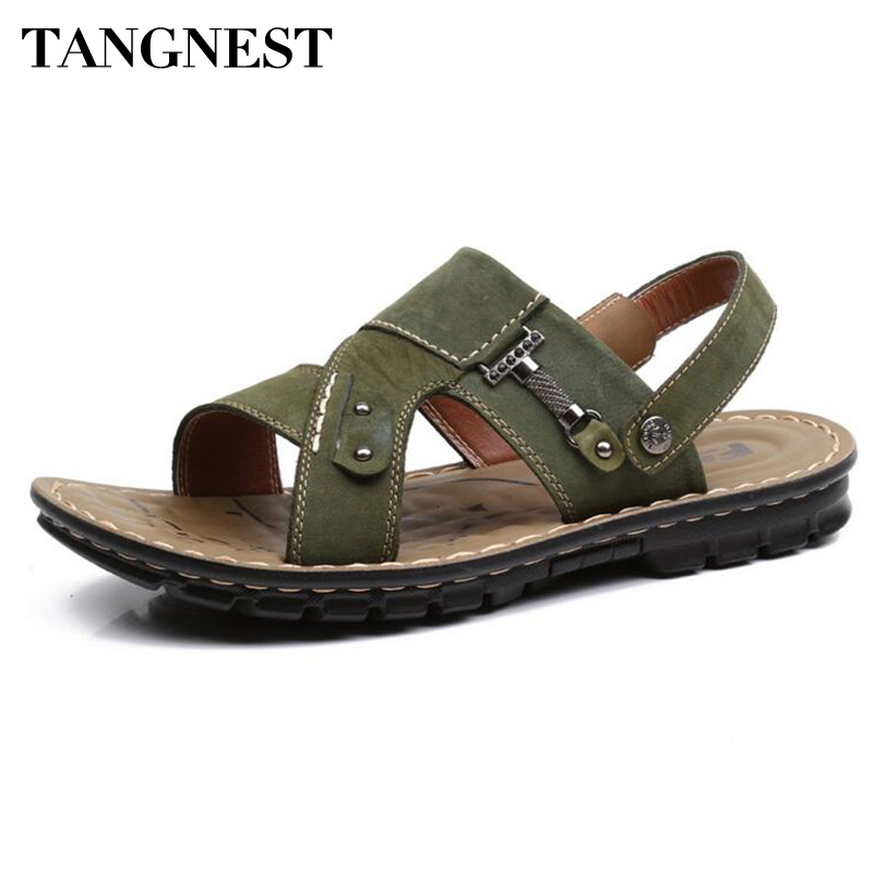 Tangnest Men Summer Gladiator Sandals New 2017 Men Beach Slippers Man Pu Leather Soft Sandals Male