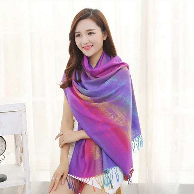 Gradient Color Women Winter Scarf 190*70cm Long Scarf Luxury Brand Cotton Scarf Shawls and Scarves Scarpe Donna 8 Colors Hijab