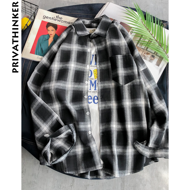 Privathinker Men Plaid Shirts INS Style 2020 Man White Red Black Plaid Long Sleeve Shirts Male Oversized Top Shirt Plus Size