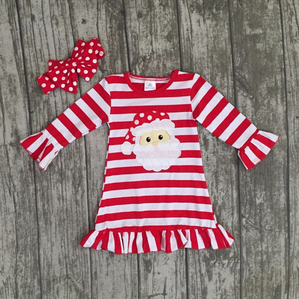 new Christmas fall/winter baby girls cotton outfits red striped ruffle dress Santa children clothes boutique match accessories fall new korean girls scout s striped