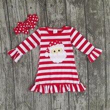 Nouvelle De Noël automne/hiver bébé filles coton tenues rouge rayé à volants robe Santa enfants vêtements boutique match accessoires