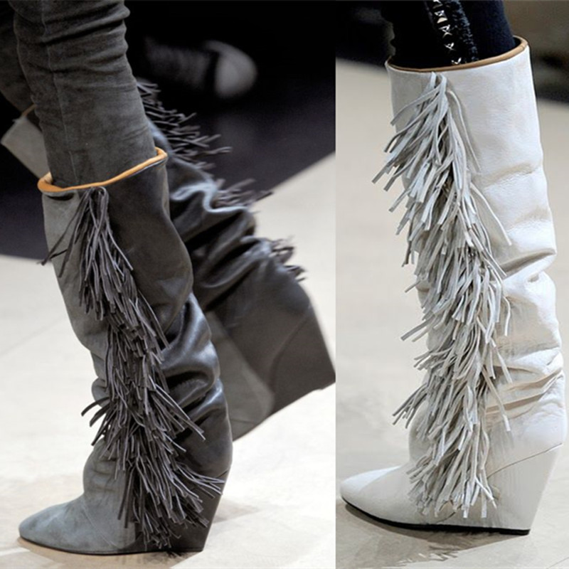 2018 New Boots Knee High Suede Fringe Boots Black/White/Gray Platform Wedged Tall Boots New Brand Fashion Women Motorcycle Boots stylish ladies pendant silver plated necklace