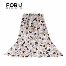 FORUDESIGNS 3D Pug Dog Printing Women Scarf Ladies Thin Light Long Scarve for Female Cute Puppy Pattern Shawl Beach Cachecol