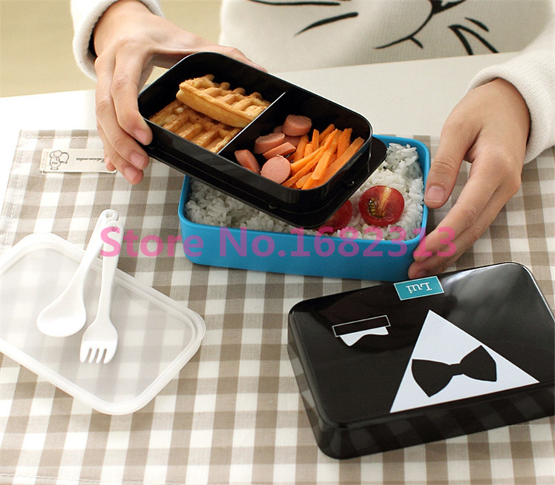 2016 NEW 1 Pcs 2-Tier Plastic Bento Tableware Box Kids Cute Food Container Lunchbox Microwave FREE SHIPPING