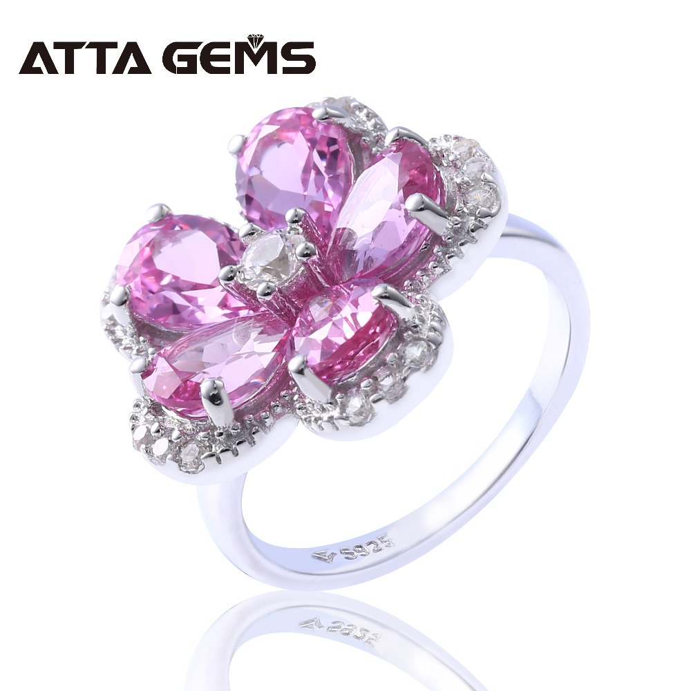 Pink Sapphire Sterling Silver Rings for Women Wedding Party Engagement Silver Jewelry 5 Carats Created Sapphire Romantic StylePink Sapphire Sterling Silver Rings for Women Wedding Party Engagement Silver Jewelry 5 Carats Created Sapphire Romantic Style