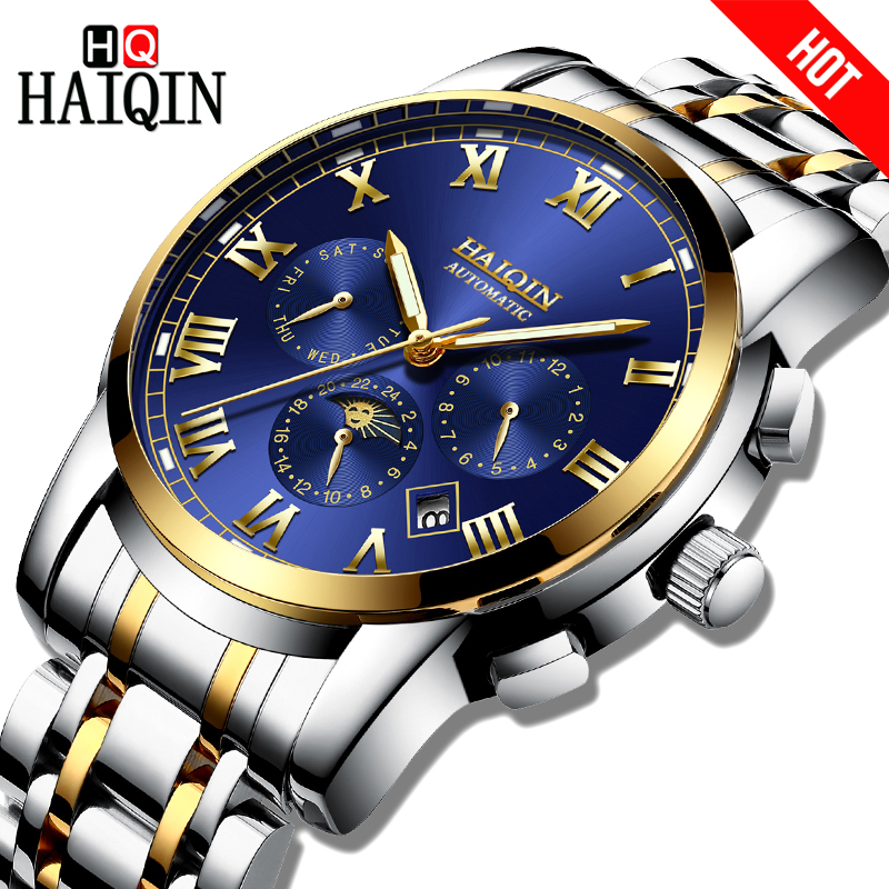 HAIQIN Hot Sale Automatic mechanical Men watches Luxury Bussiness Chronograph Waterproof steel Male Wristwatch Relogio Masculino men mechanical watches men s watch best luxury brand 2017 new burei male steel band hour sapphire waterproof wristwatch hot sale