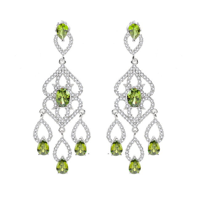 Silver Colors My One True Love Stud Earrings For Women Openwork Heart With Olive Green