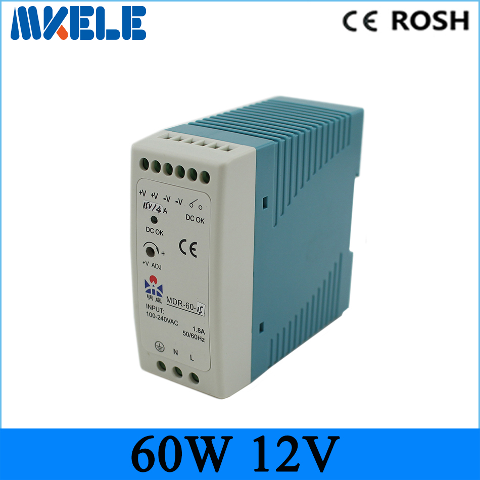 low price direct sale din rail smps MDR-60-12 MDR series 12V 5A 60W CE Switching Power Supply for LED Strip Light lamp
