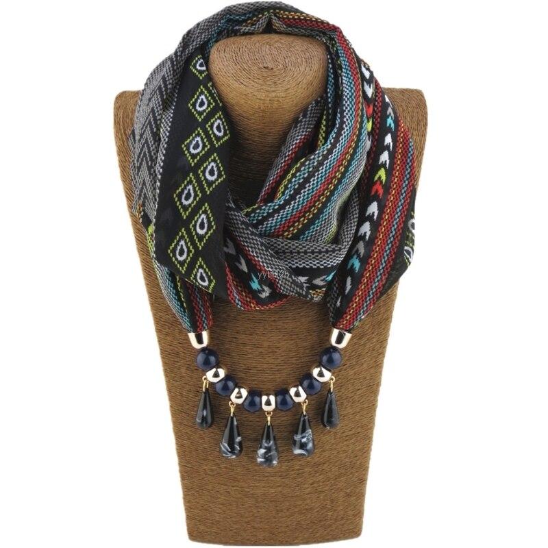 Women Lady Fashion Bohemian Ethnic Jewelry Pendant   Scarf     Wrap   Necklace Chiffon Winter Warm New 170CM Soft   Scarves   W11