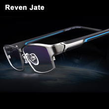 Reven Jate EJ267 Fashion Men Eyeglasses Frame Ultra Light Weighted Flexible IP Electronic Plating Metal Material Rim Glasses