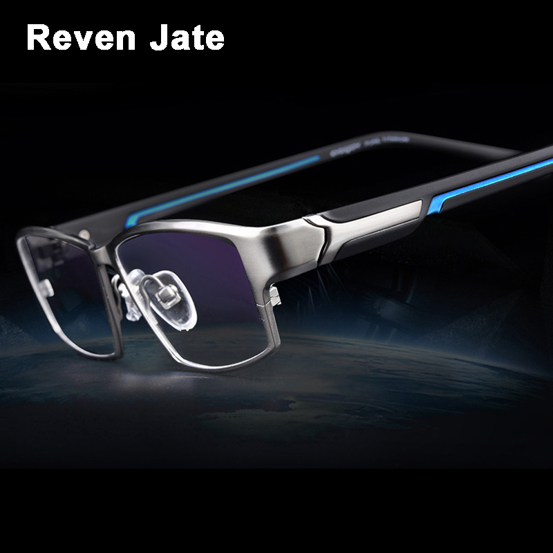 Reven Jate EJ267 Fashion Men Eyeglasses Frame Ultra Light-weighted Flexible IP Electronic Plating Metal Material Rim Glasses