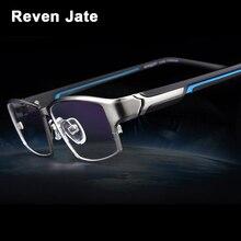 Reven jate ej267 moda masculino óculos quadro ultra leve ponderada flexível ip eletrônico chapeamento de metal material aro óculos