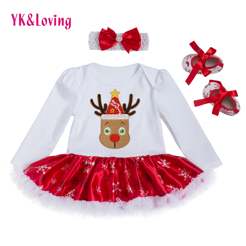 2017 Christmas Cotton White Long Sleeve Girl Rompers Dress Baby Girls Clothes Sets 3pcs Newborn Jumpsuit