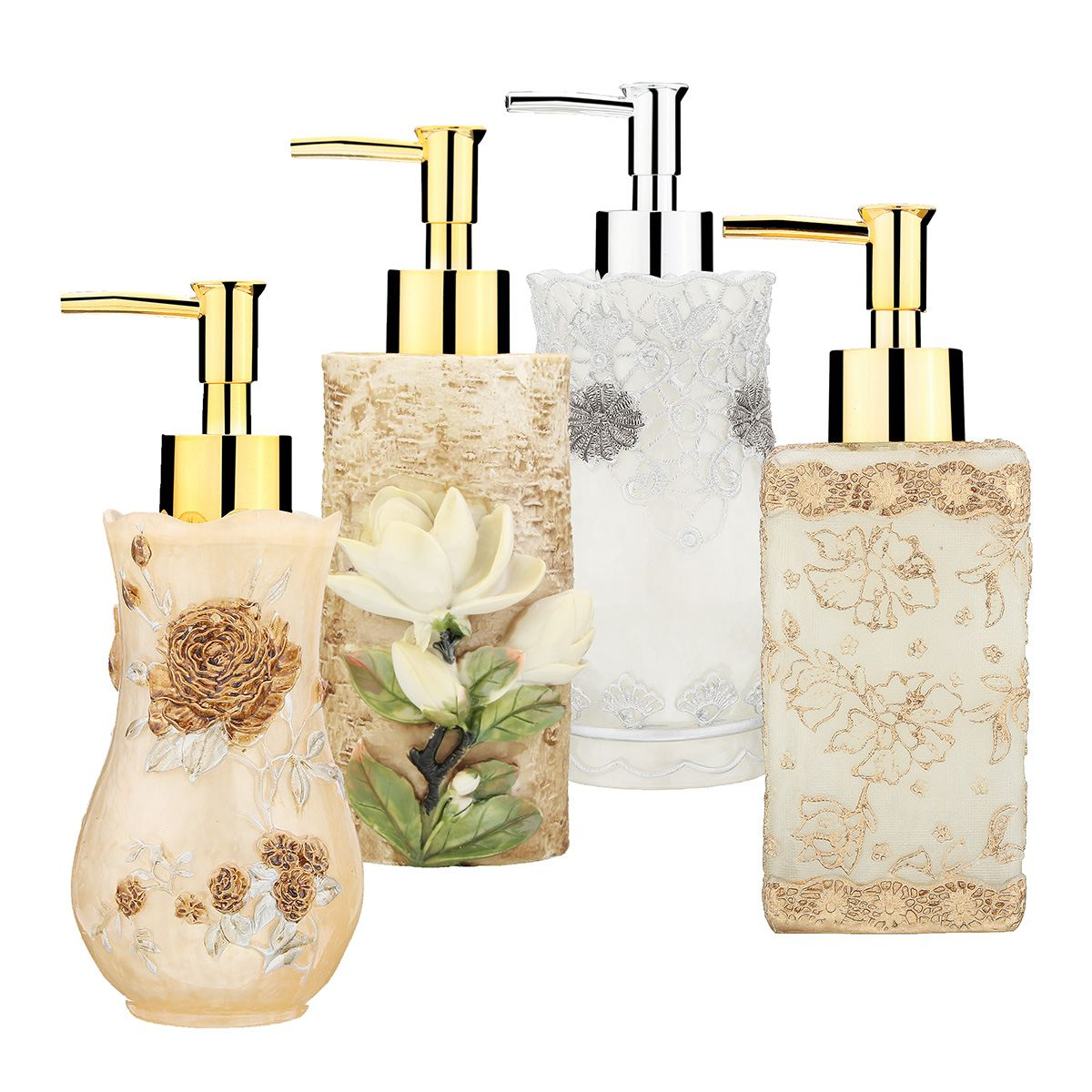 New 3D Flower Bathroom Home Hotel Liquid Soap Dispenser Sanitizer Resin Pump Lotion Shampoo Container Bottle