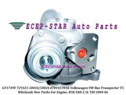 Turbo GT1749V 729325 729325-5003S 729325-5002S 070145701K 070145701KX 070145701KV dla VW transport autobusowy T5 2004-R5K AXD 2.5L