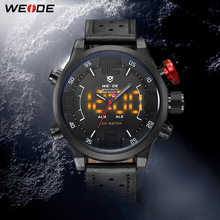 Brand WEIDE New Men Casual Watch With Japan Quartz Analog Digital Waterpfoof Relogio Masculino Leather Strap Watches For Men цена 2017
