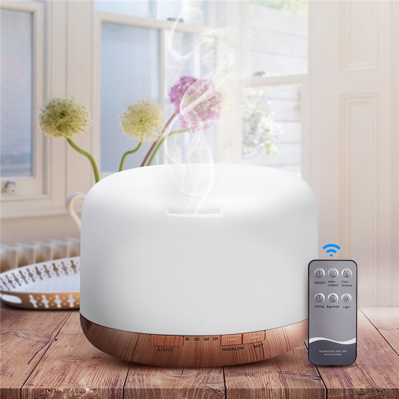 Air Humidifier Essential Oil Diffuser 500ML Ultrasonic Cool Mist Maker Fogger Humidifier LED Lamp Aroma Oil Diffuser Electric