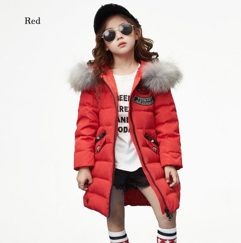 Boy Girls Long Down Jackets 2017 Brand Winter Thicken Fur Collar Hooded Children Down Coats Outerwear Overcoat Parkas 5T-10T a15 girls down jacket 2017 new cold winter thick fur hooded long parkas big girl down jakcet coat teens outerwear overcoat 12 14