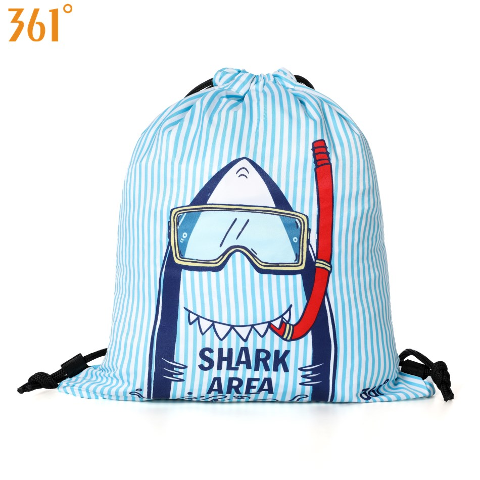 361 Kids Swimming Bags Boys Girls Drawstring Backpack Waterproof Bag Blue Pink Cartoon Shark Dry Wet Camping Pool Beach Outdoor