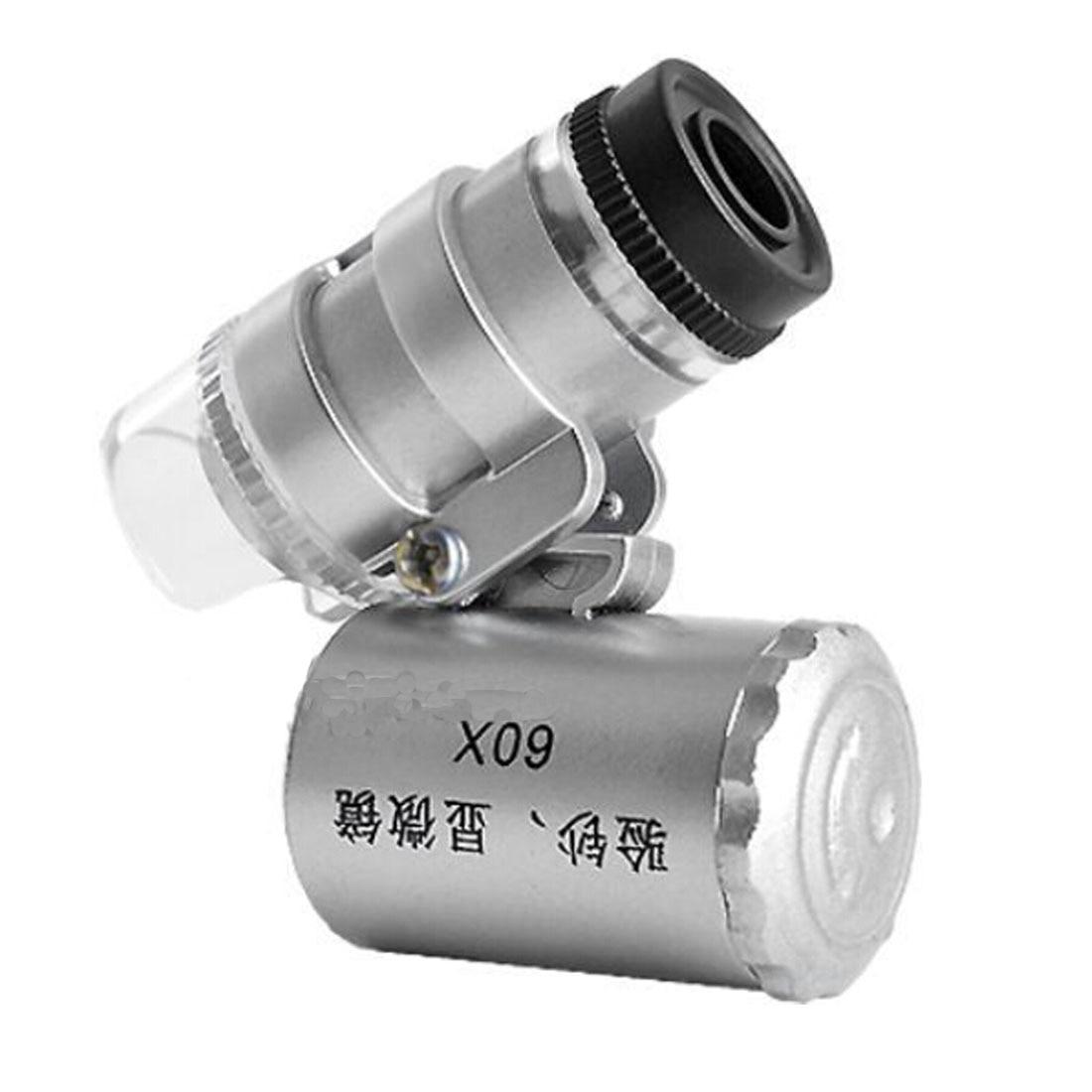 Illuminated Magnifier Glass 60X Mini Microscope Jeweler Loupe Lens 3 LED With UV Light