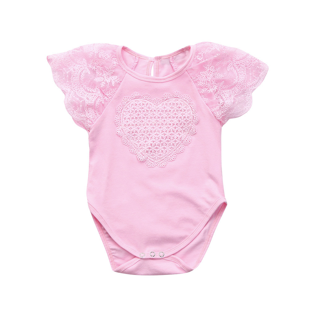 da354c3ce Cute Baby Girls Infant Floral Heart Lace Sleeveless Clothes Jumpsuit Romper  Baby's sleeveless lace love printed-in Rompers from Mother & Kids on ...