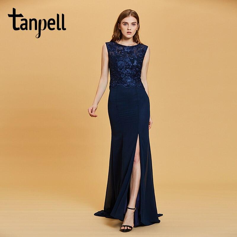 Tanpell split front evening dress dark navy sleeveless a line floor length dresses women bateau formal prom long evening gown