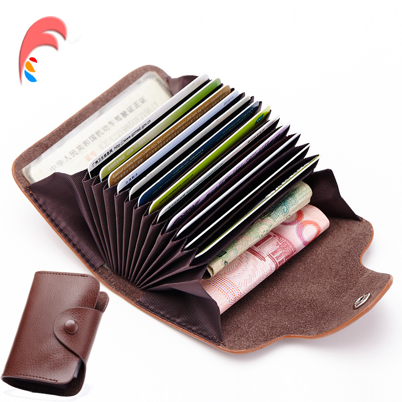 New Genuine Leather Women Men ID Card Holder Card Wallet Purse Credit Card Vintage Bank Business Card Holder Protector Organizer 26 slots genuine leather women men id card holder card wallet purse credit card business card holder protector organizer dc29