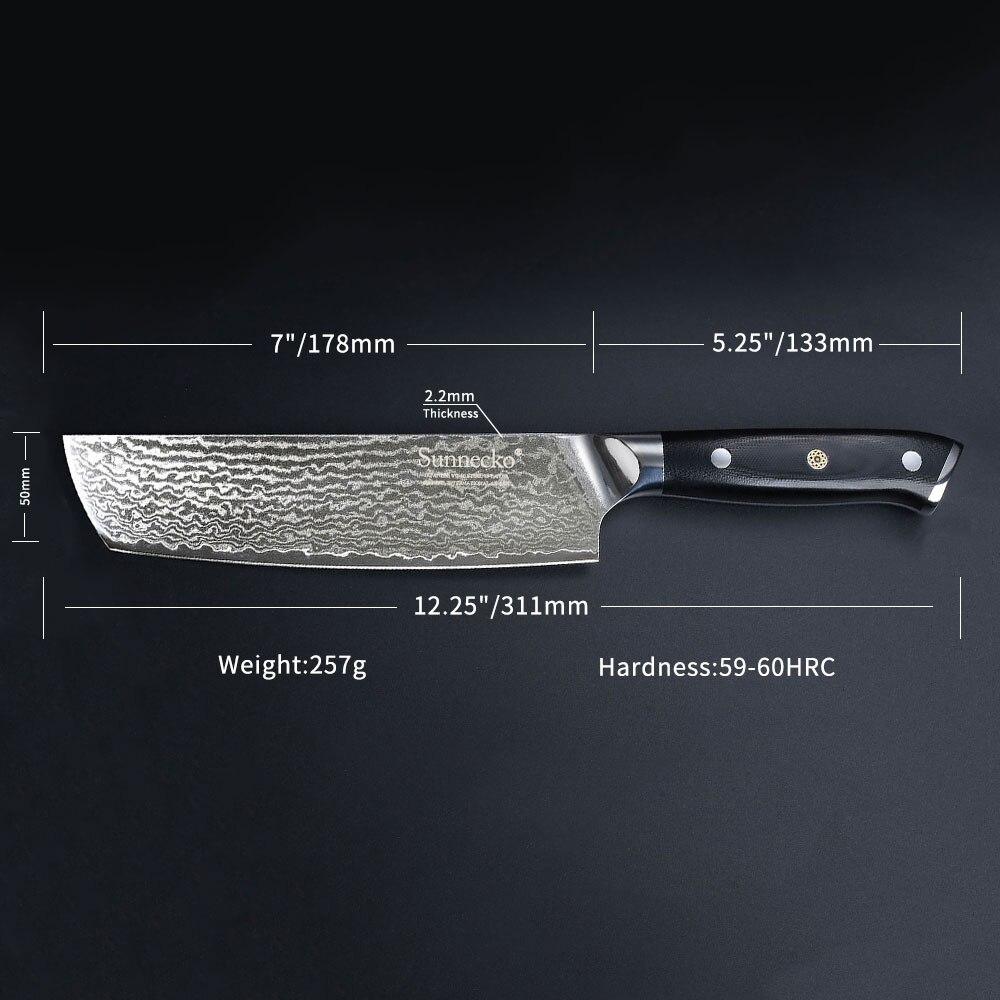 """Ev ve Bahçe'ten Mutfak Bıçakları'de SUNNECKO Profesyonel 7 """"Nakiri Cleaver Bıçak Şam Japon VG10 Çelik Bıçak Mutfak Bıçakları G10 Kolu Et Sebze Kesici'da  Grup 3"""