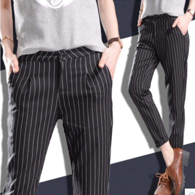 eadec1d8d2798 Winter Spring Women Slim Casual Pants Work Wear Career Black Stripe Pants  Straight Pencil Pants Women