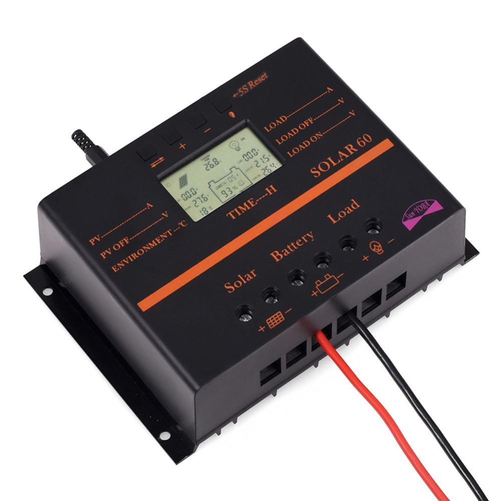 60A 12V 24V LCD Solar Charge Controller Discharge With USB For Solar Battery Panel Regulator APJ