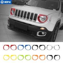 MOPAI Auto Front Kopf Licht lampe Dekoration Abdeckung Aufkleber für Jeep Renegade 2015 Up ABS Außen Auto Zubehör Styling