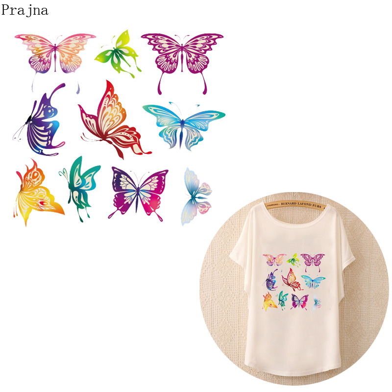 Prajna DIY Heat Transfer Patch Transfer Vinyl Iron On Transfer For Clothing T shirt PVC Butterfly Patch Thermal Stickers Fabric