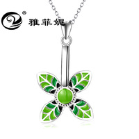 Clovers transshipment vogue small sautoir fresh leaf pendant necklace, 925 silver undertakes to detonation model