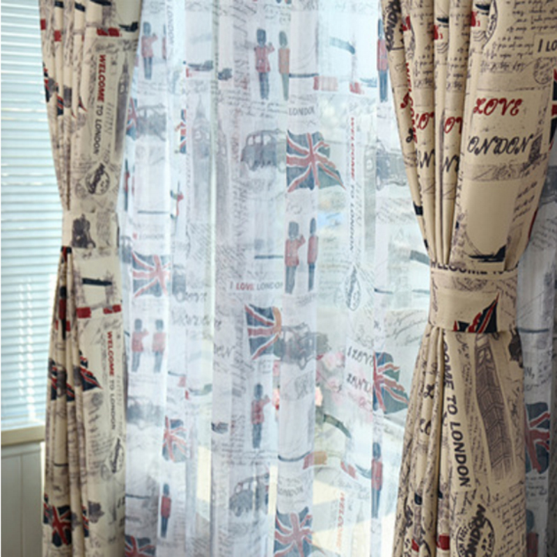 Retro European British Union Jack Printed Voile Curtains For Kids Room  Bedroom Living Room Curtains Cloth Tulle Tu0026236 #20 In Curtains From Home U0026  Garden On ...