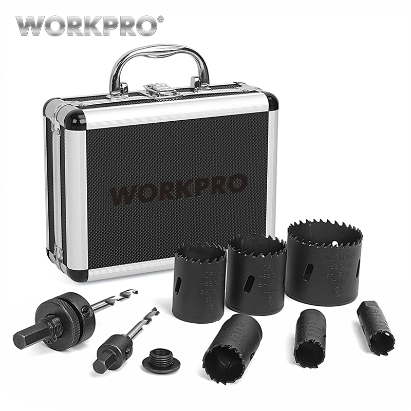 WORKPRO 9PC HSS Core Drill Bits Universal Hole Saw Set High Speed Steel Carbide Tip Hole Saw Tooth For Wood Metal