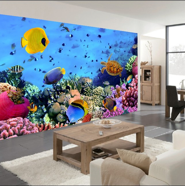 custom 3d mural wallpaper color living underwater world of tropical fish restaurant in the hotel bar - Underwater World Restaurant