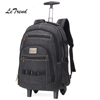 Letrend Business Travel Bag large capacity Suitcases Wheels Men Shoulder Backpack Rolling Luggage Trolley Carry On Trunk