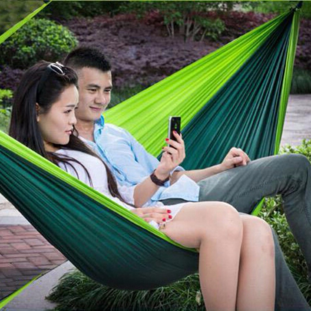 Double Outdoor Hammock Swing Bed Portable Parachute Nylon Fabric