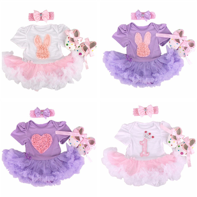New Newborn Baby Girl Infant Clothing 3pcs/Sets 2016 Tutu Romper Dress/Jumpsuit+Headband+Shoes Christmas Bebe Birthday clothes