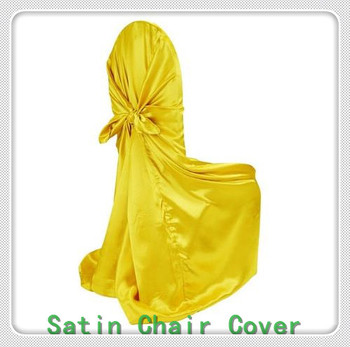 100pcs Bag Self-Tie Chair covers - Satin Chair Cover / Universal Satin Chair Cover For Wedding Banquet Party Decoration фото