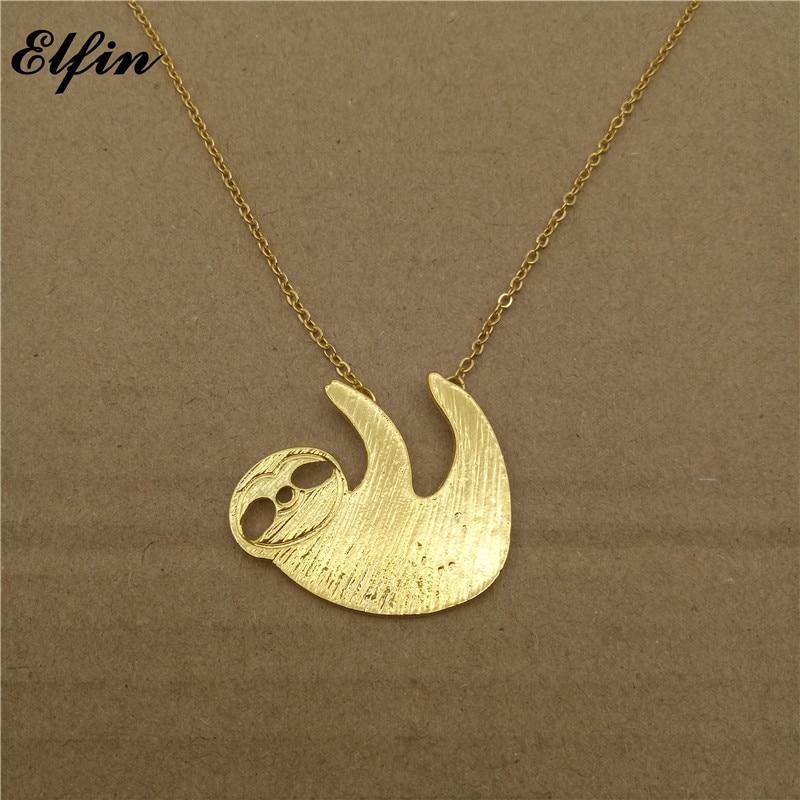 Elfin 2018 Trendy Sloth Necklace Gold Color Silver Color Bradypus Jewellery Pendant Necklace Women Steampunk